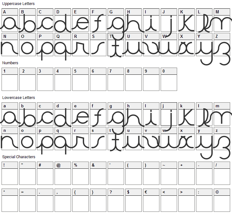 Aster Font Character Map