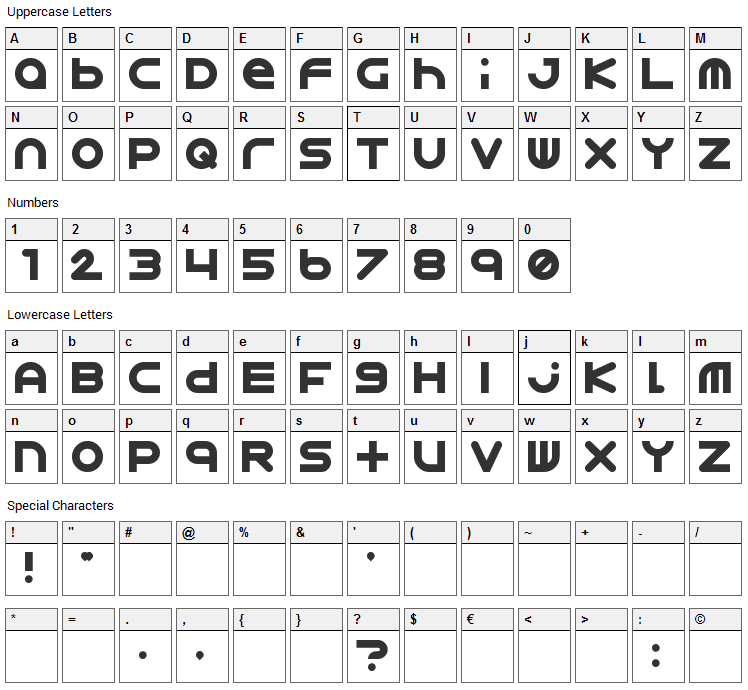 Astro 867 Font Character Map