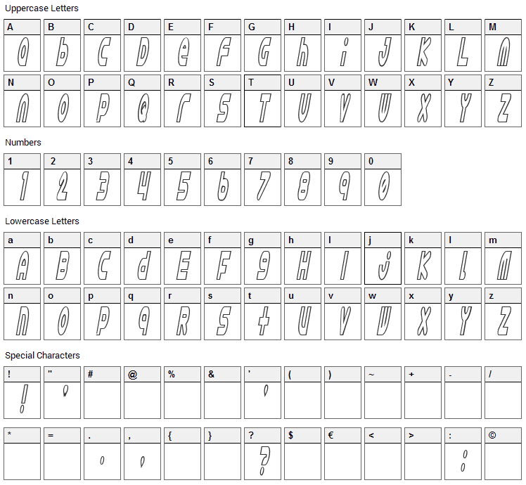Astro 869 Font Character Map
