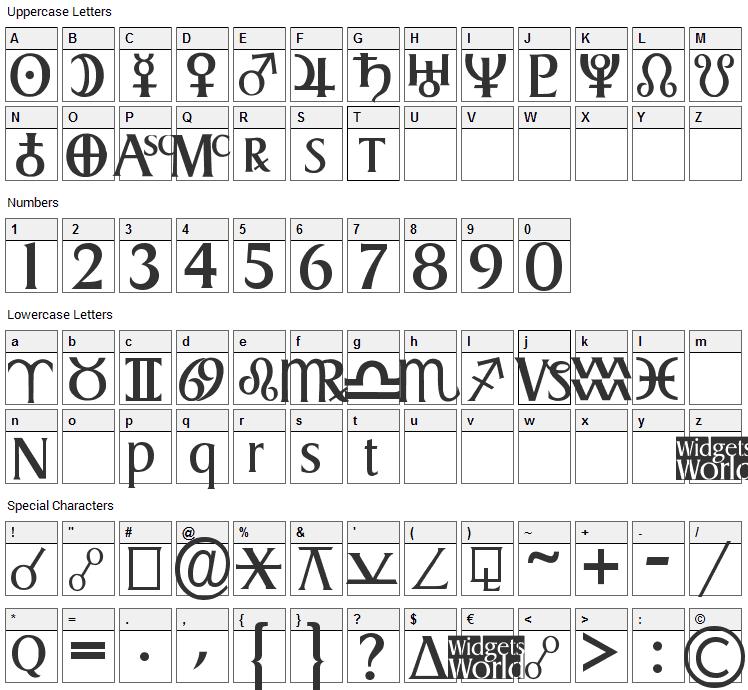 Astro Gadget Font Character Map