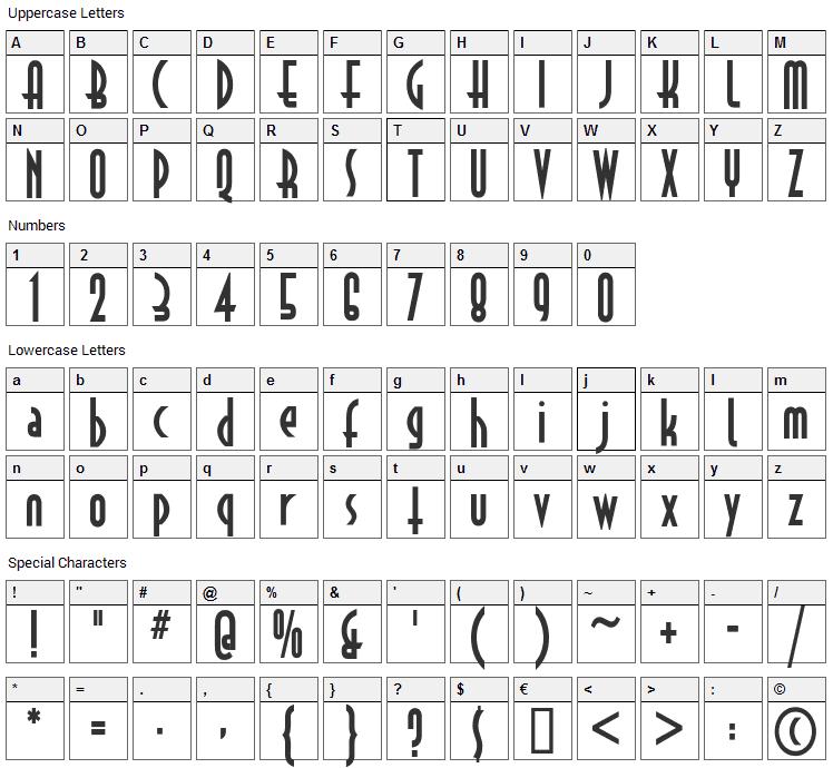 Astrud Font Character Map