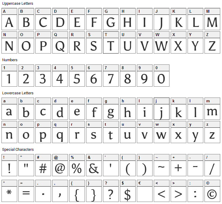 Asul Font Character Map