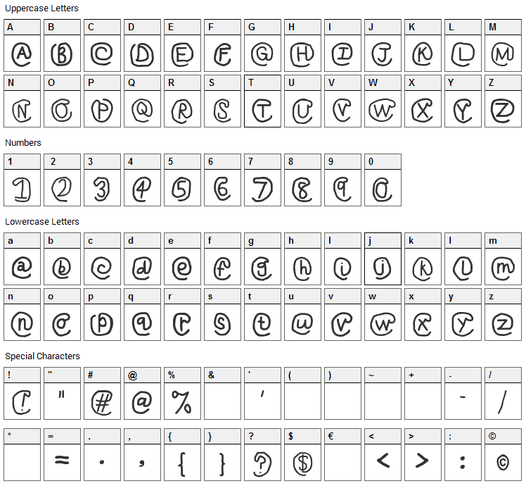 At Sign Font Character Map