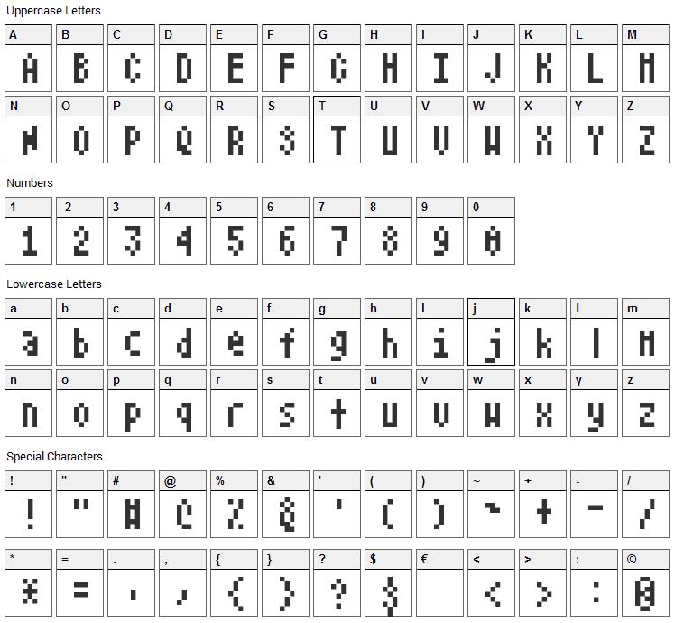 Atari Font Character Map