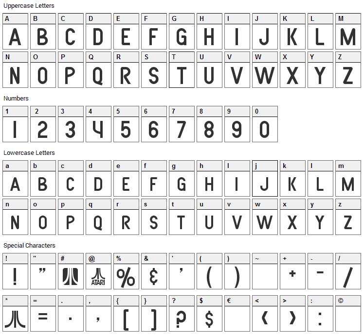 Atarian System Font Character Map