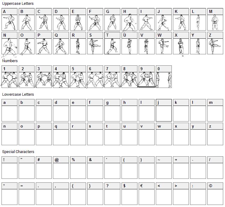 Atewaza Font Character Map