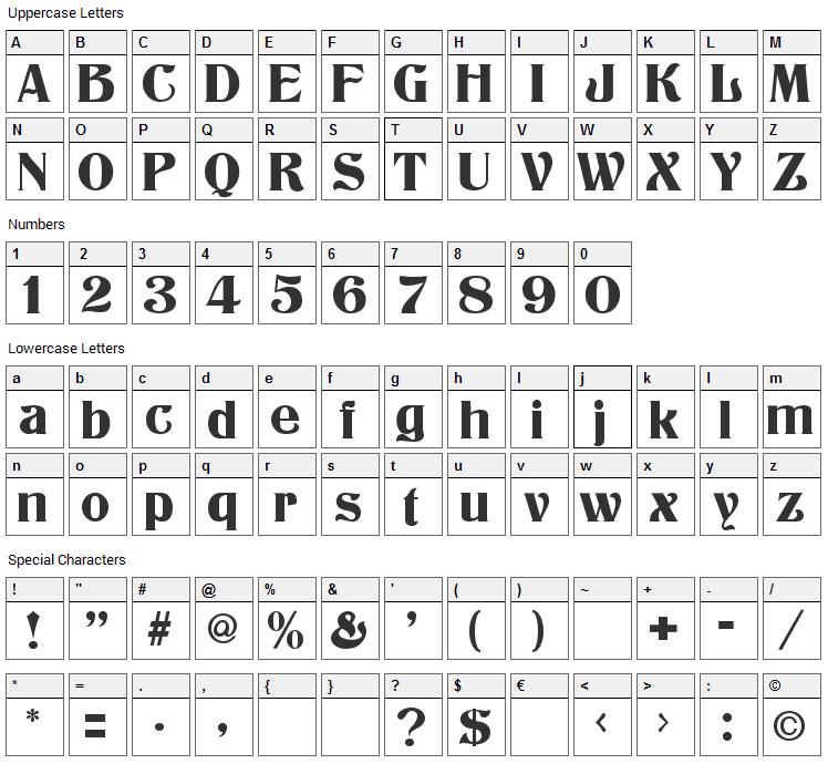 Athenian Font Character Map