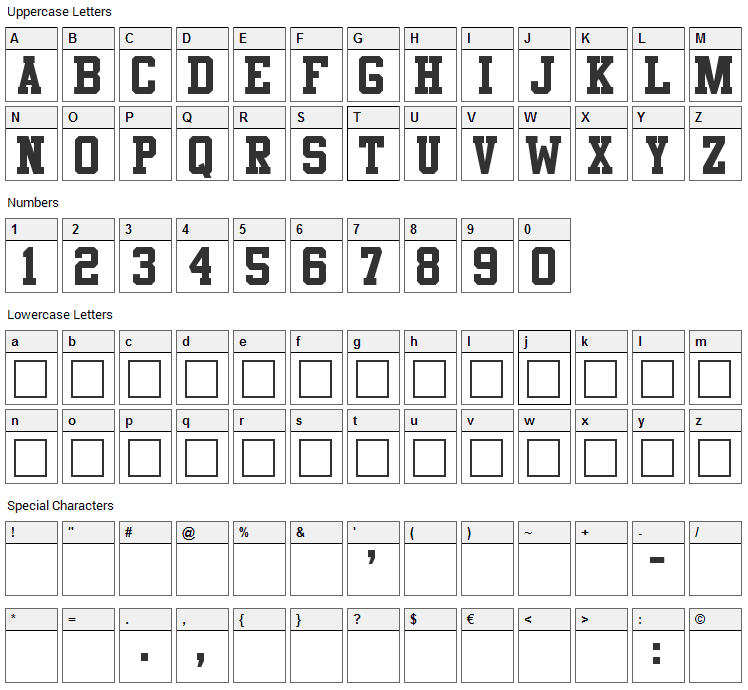 Athletic Font Character Map