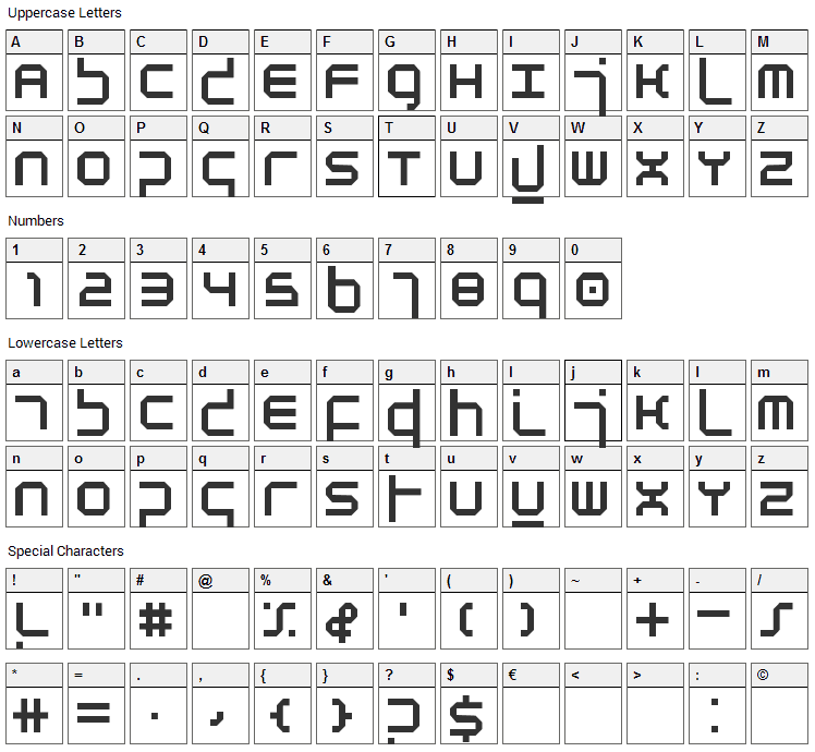 Atmosphere Font Character Map