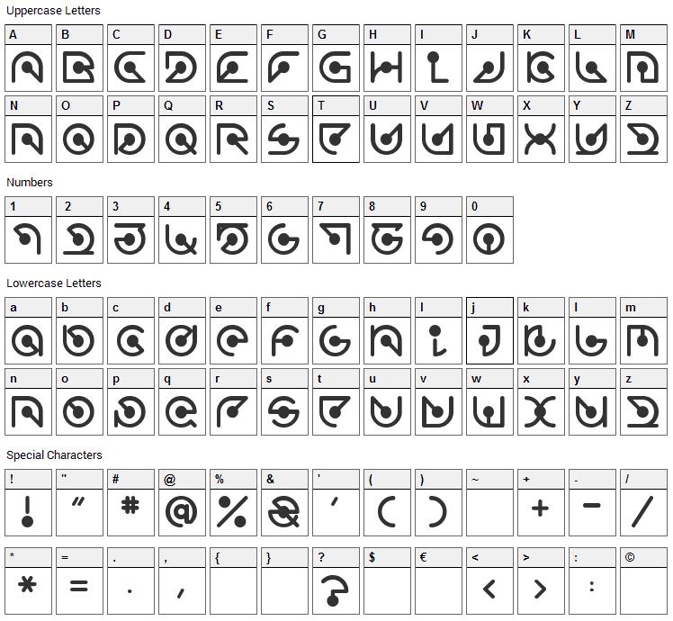 Atomic Font Character Map