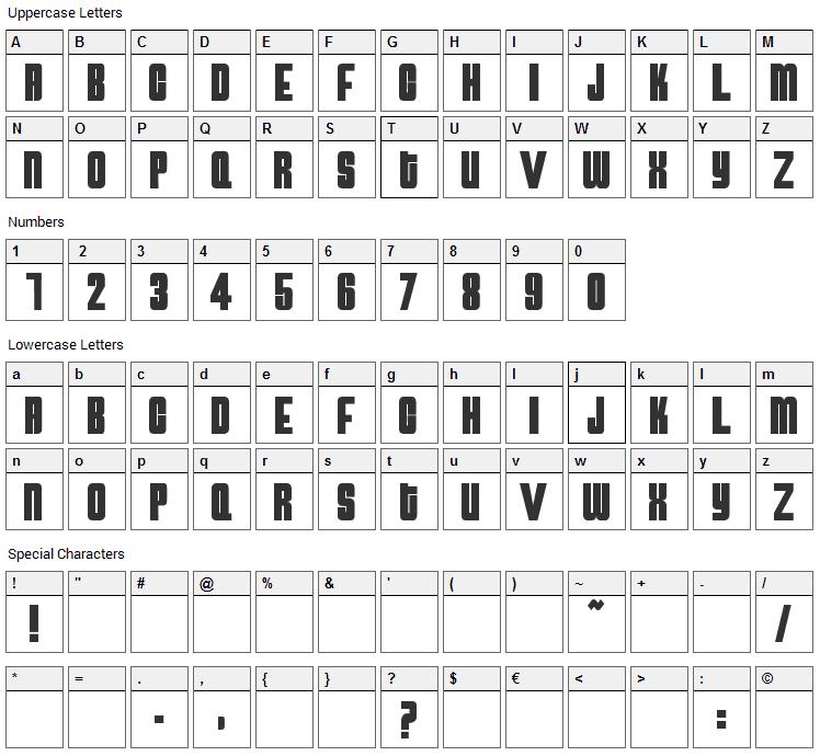 Atomic Bomb Font Character Map