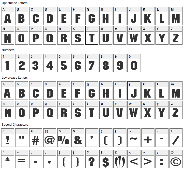 Atrox Font Character Map