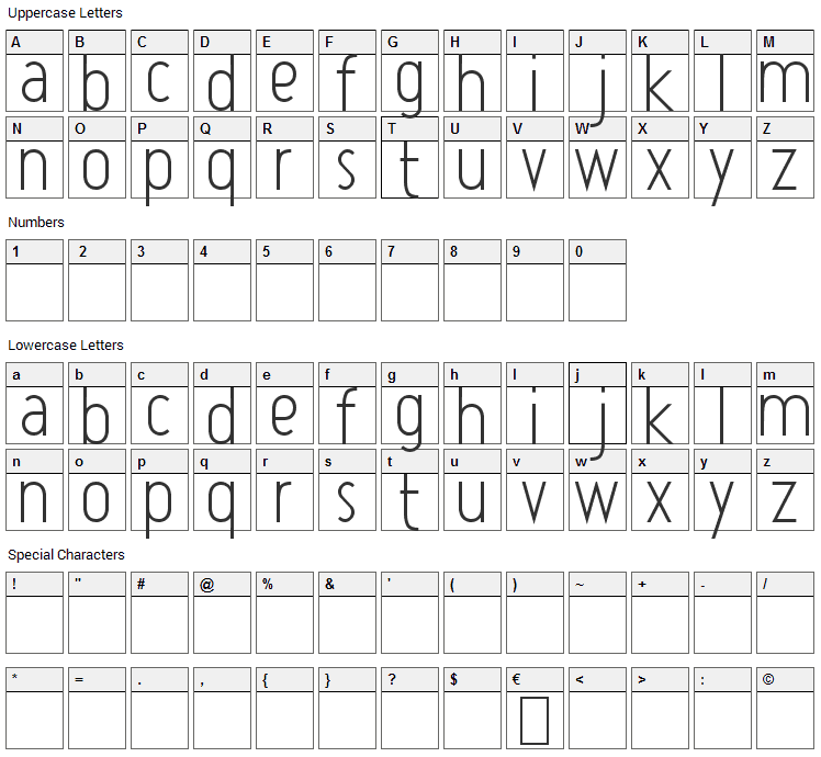 Atype 1 Font Character Map