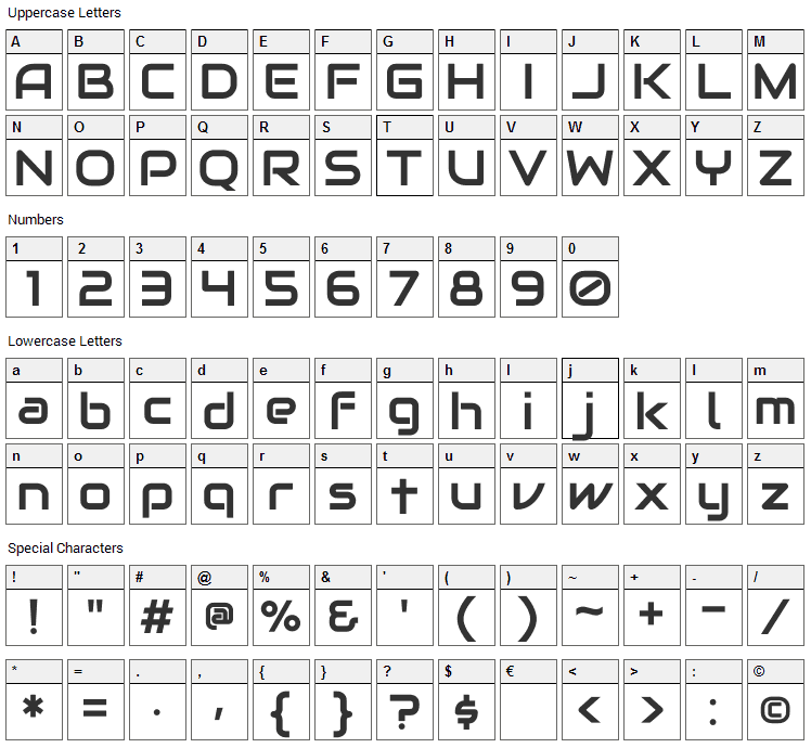 Audiowide Font Character Map
