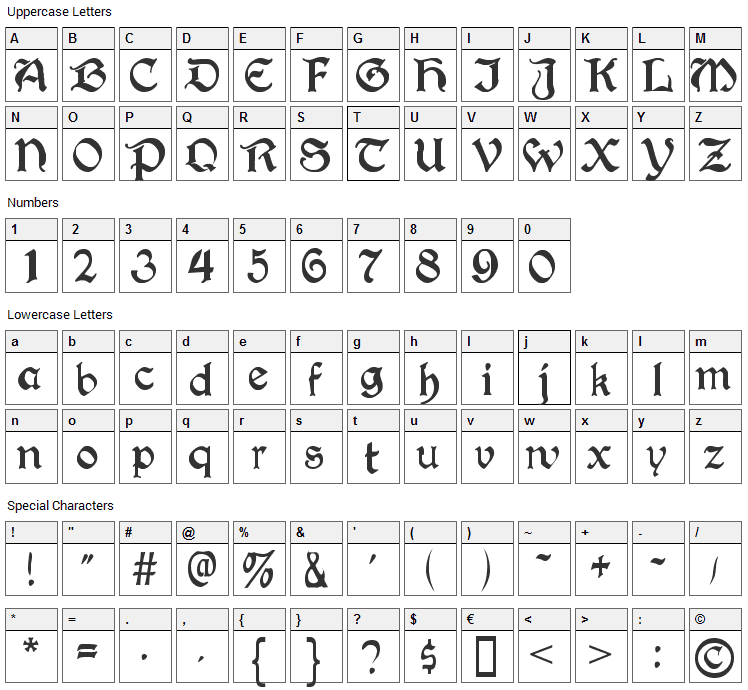 Augusta Font Character Map