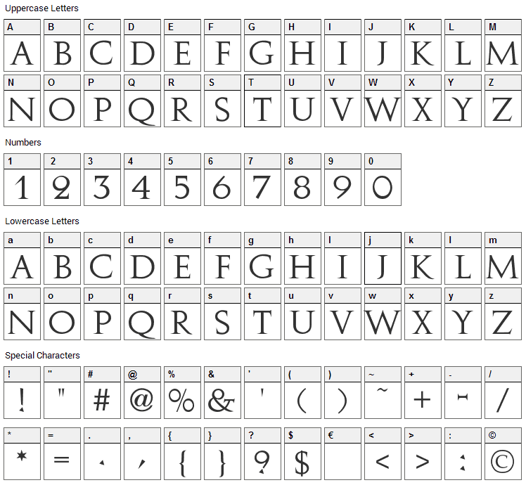 Augustus Font Character Map