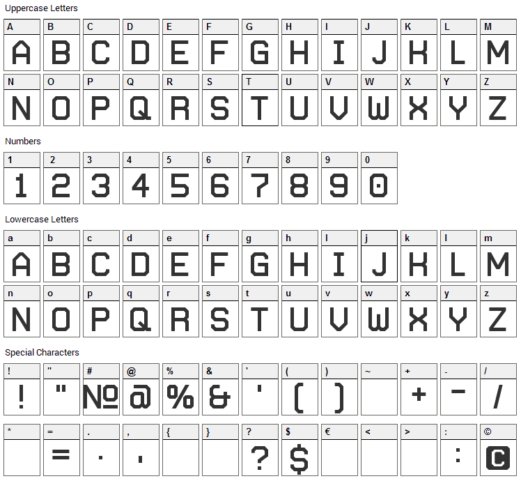 Autobahn Font Character Map