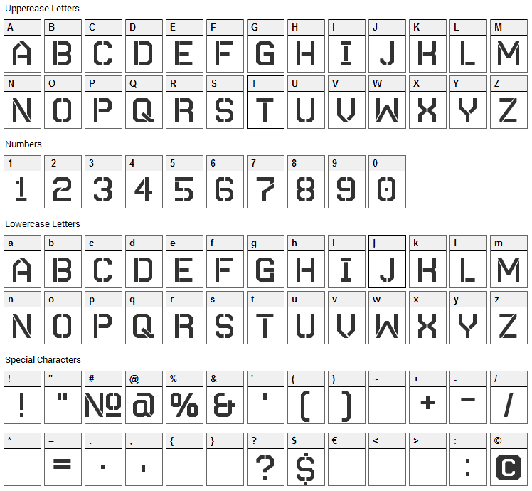 Autobahn Simon Font Character Map