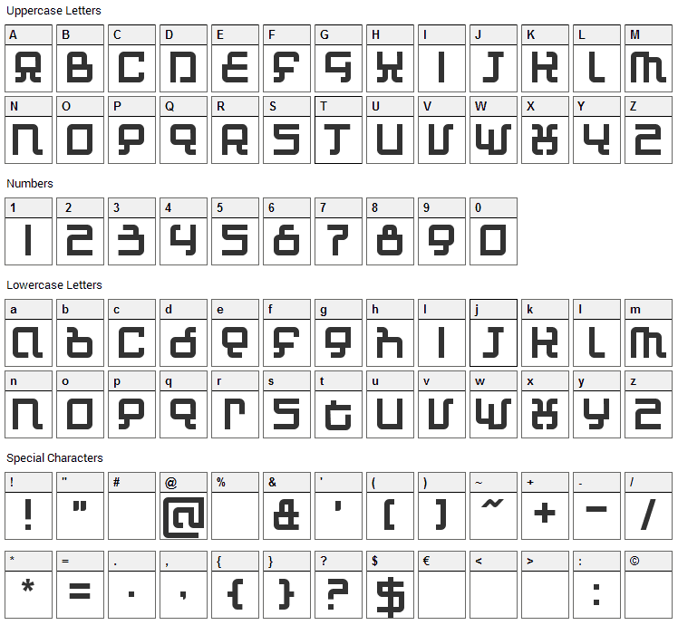 Automind Font Character Map