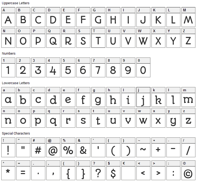 Autour One Font Character Map