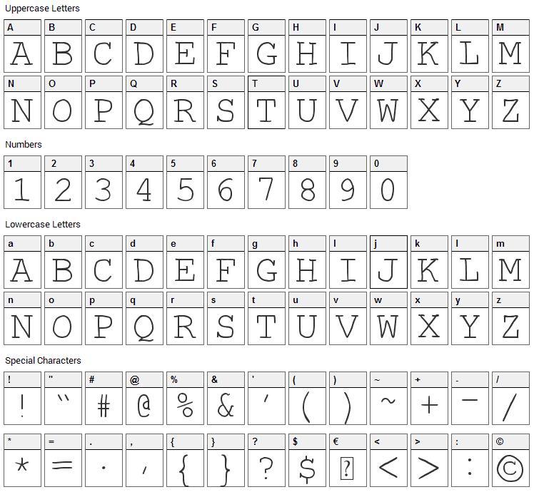 Autumn Font Character Map