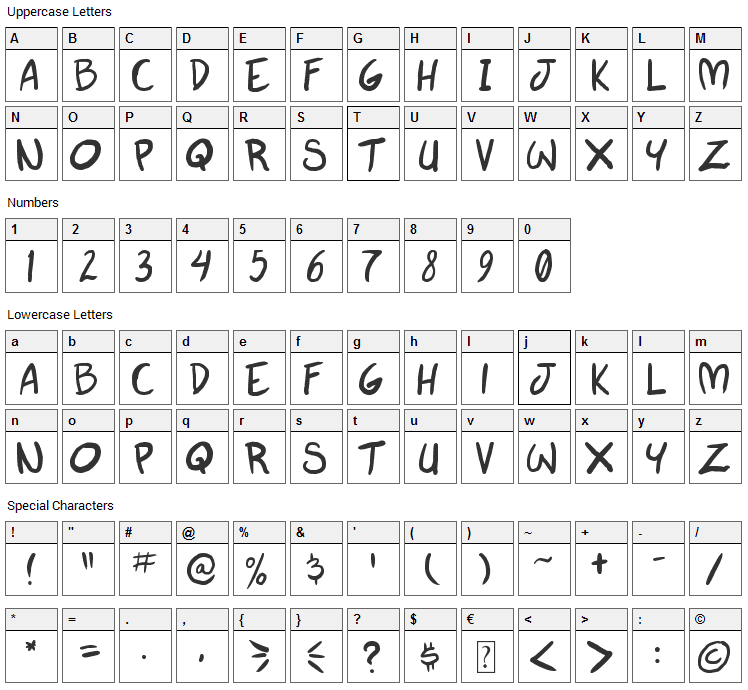 Autumn Whispers Font Character Map