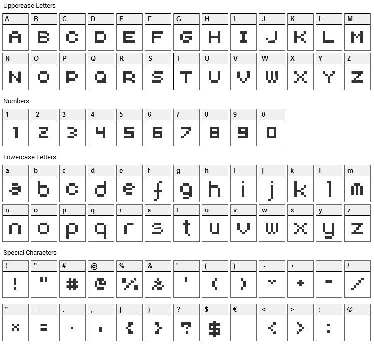 Aux DotBitC Font Character Map