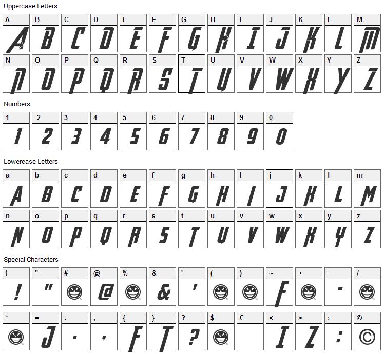 Avengeance Heroic Avenger Font Character Map