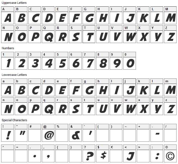 Avengeance Mightiest Avenger Font Character Map