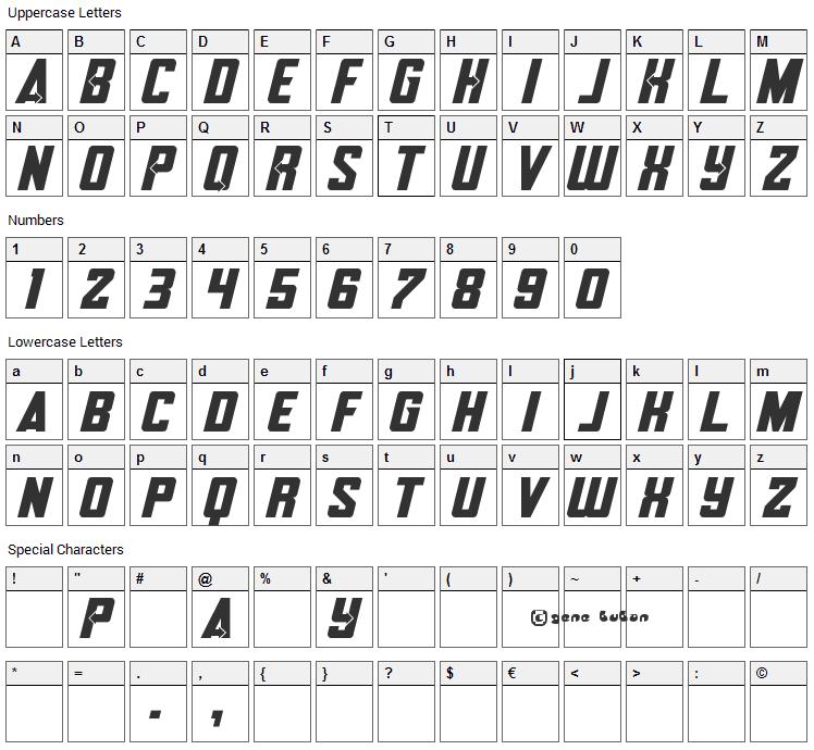 Avengero Font Character Map