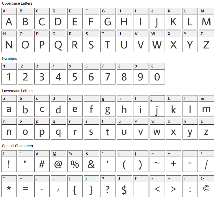 Average Sans Font Character Map