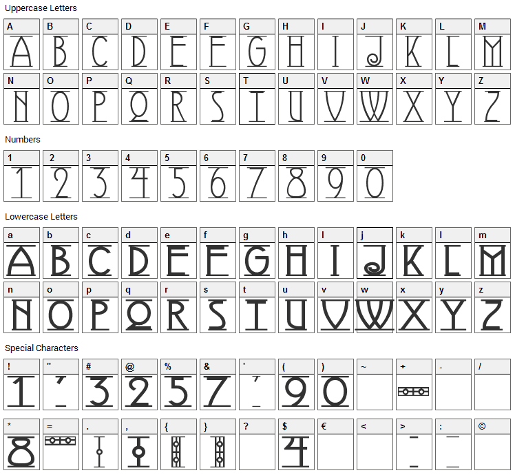 Avignon Font Character Map