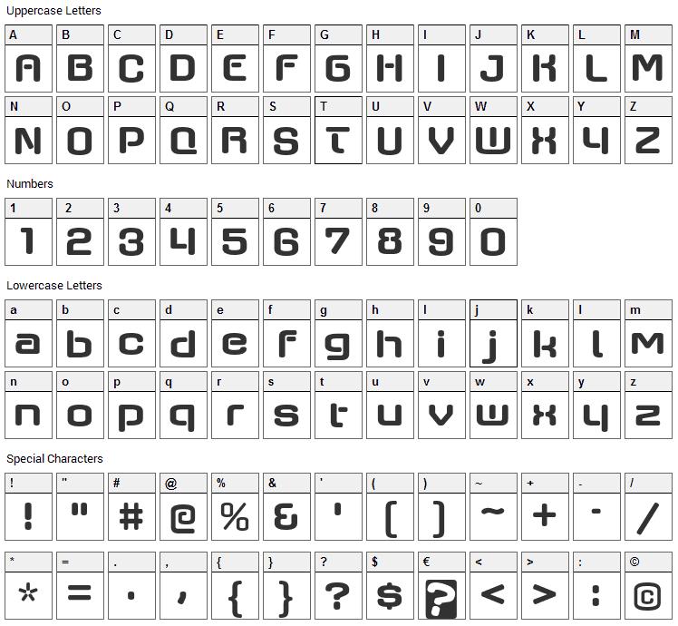 Axaxax Font Character Map
