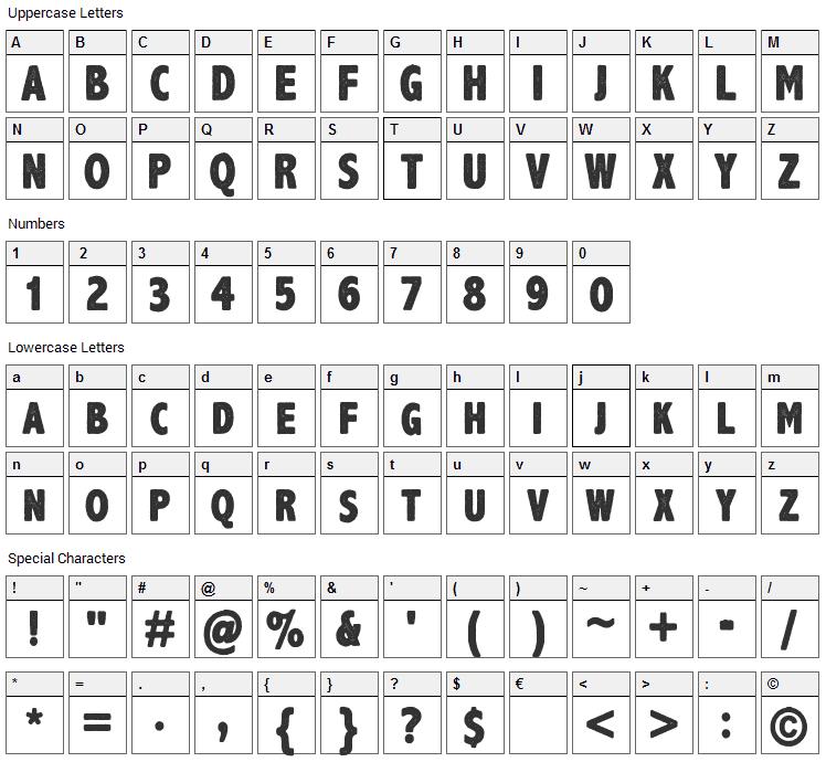 Axe Handel Font Character Map