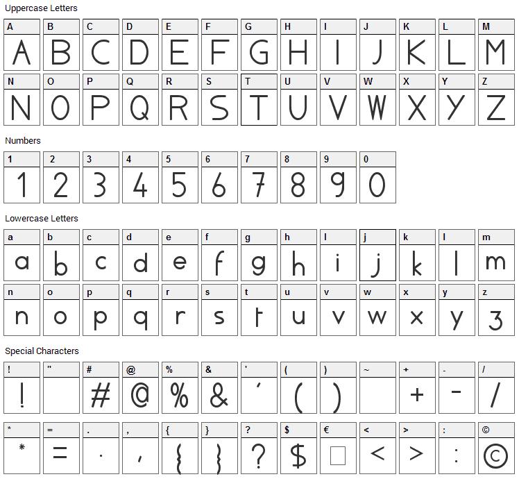 Ayla Font Character Map