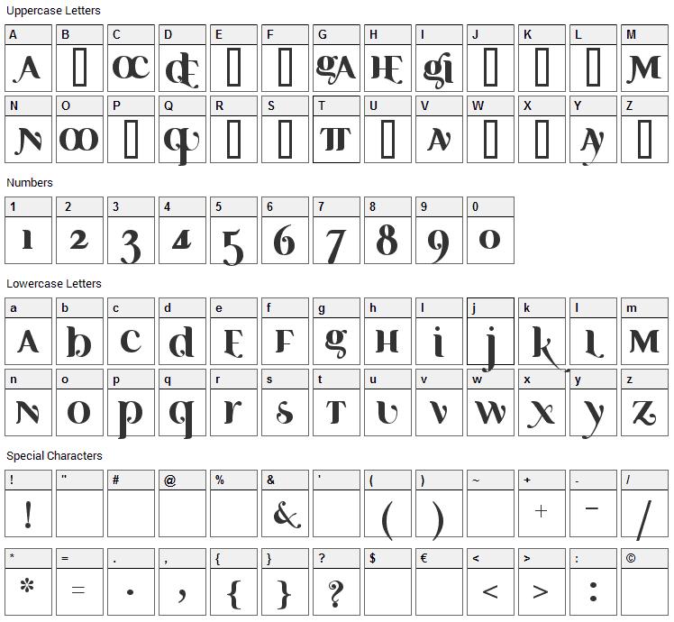 Ayosmonika Font Character Map