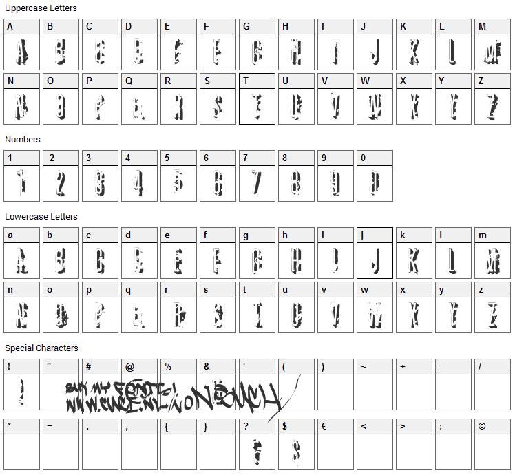 AZ Crushed Font Character Map