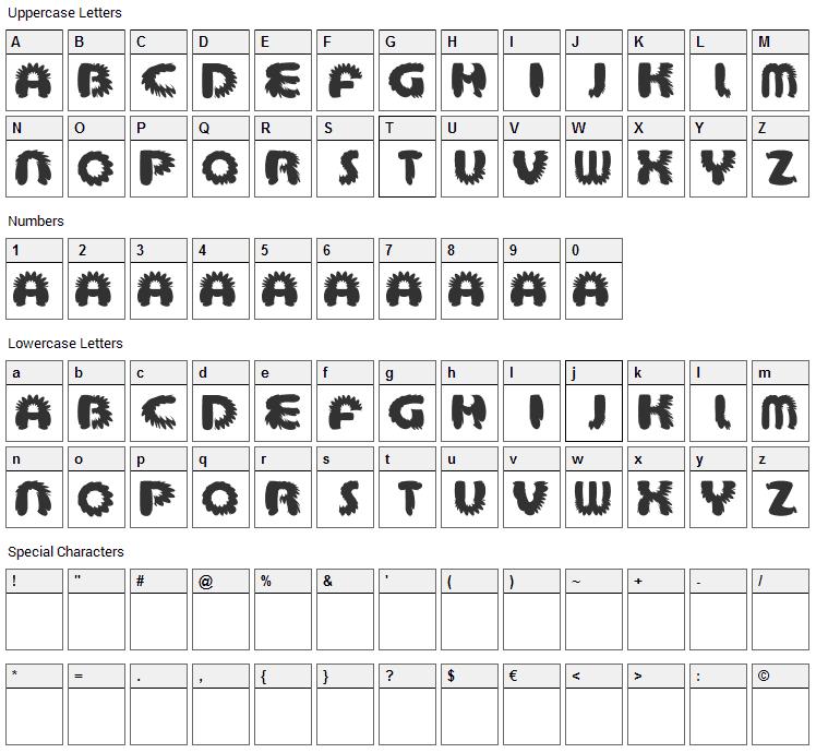 Aztec Bouffon Font Character Map