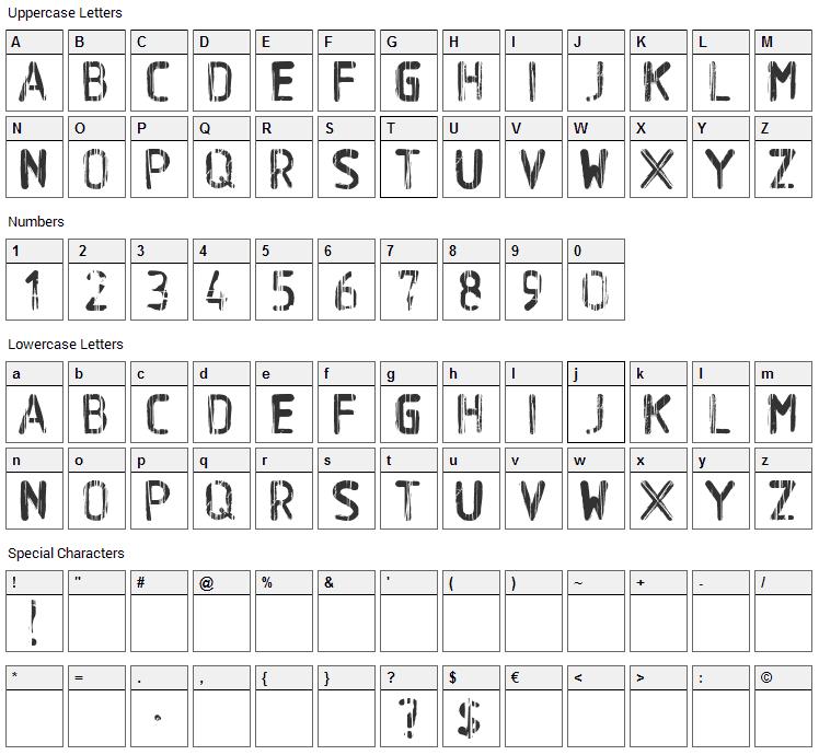 BA Wet Paint Font Character Map