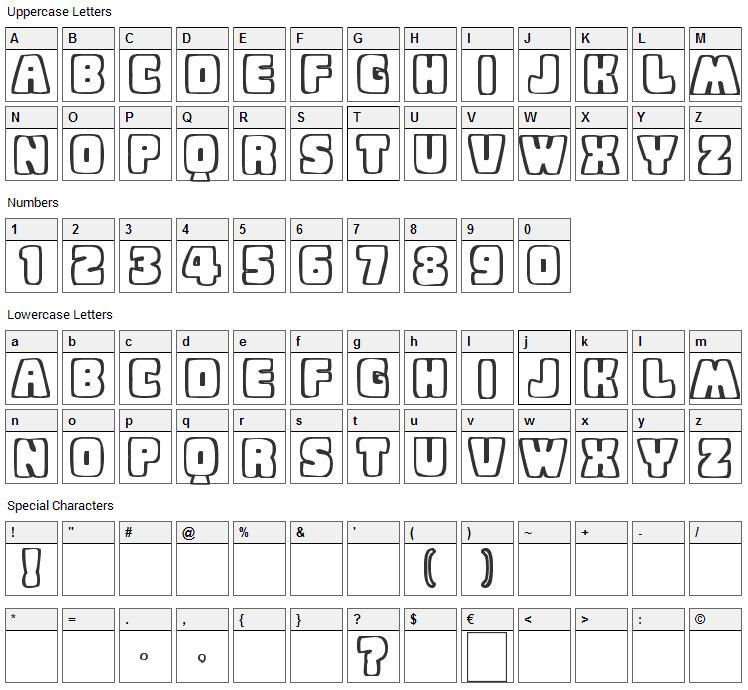 Baby Eskimo Kisses Font Character Map