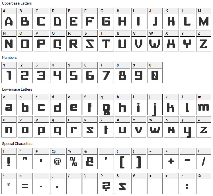 Baby Universe Font Character Map