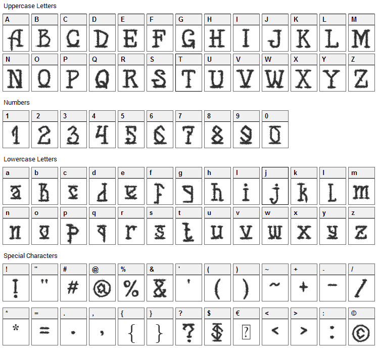Back for Death Font Character Map