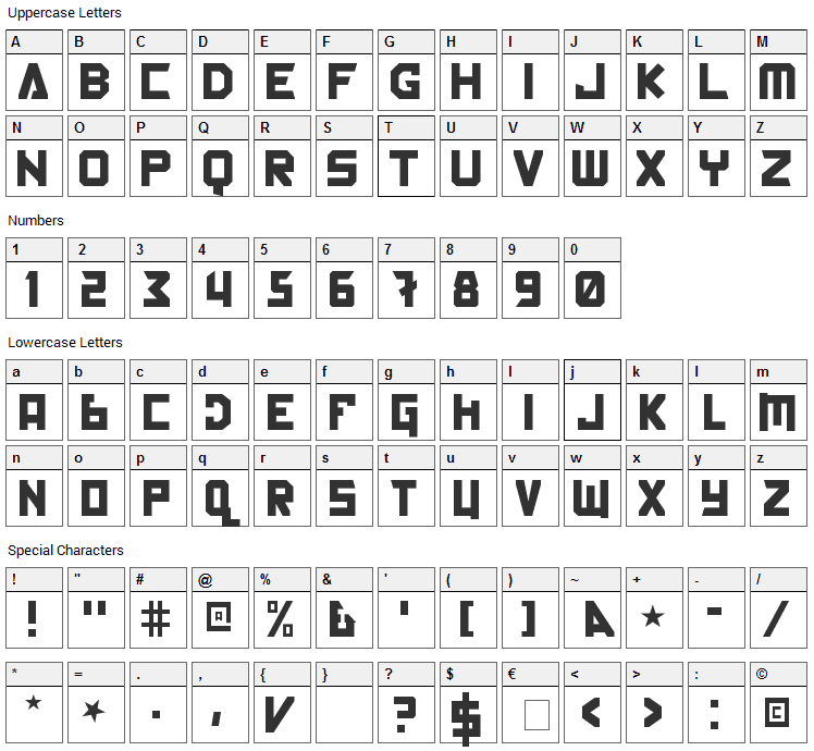 Back In The USSR DL Font Character Map