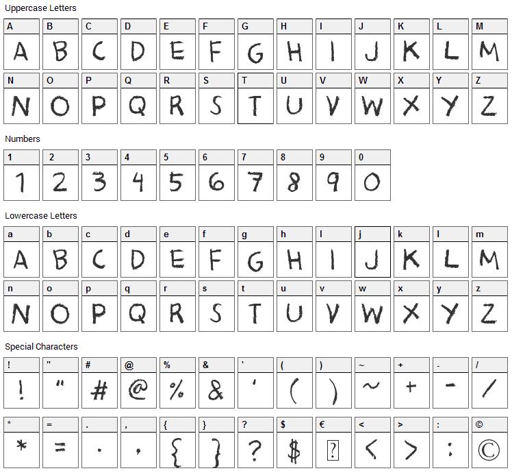 Bacon Kingdom Font Character Map