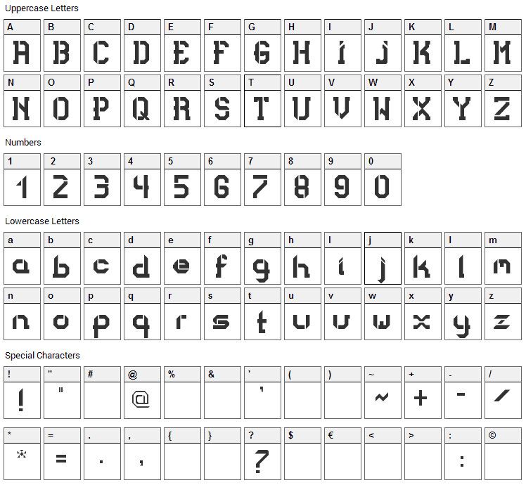 Bad Bold College Font Character Map
