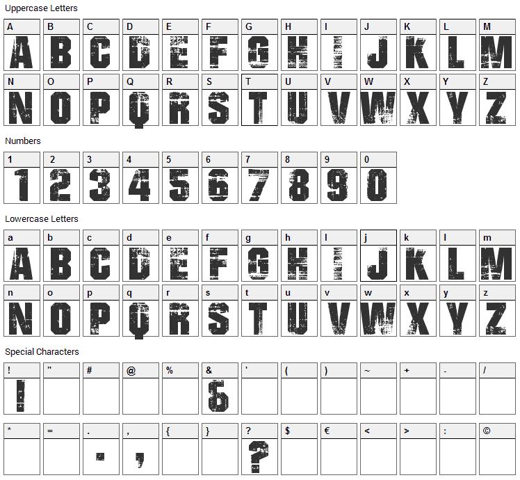 Bad Grunge Font Character Map