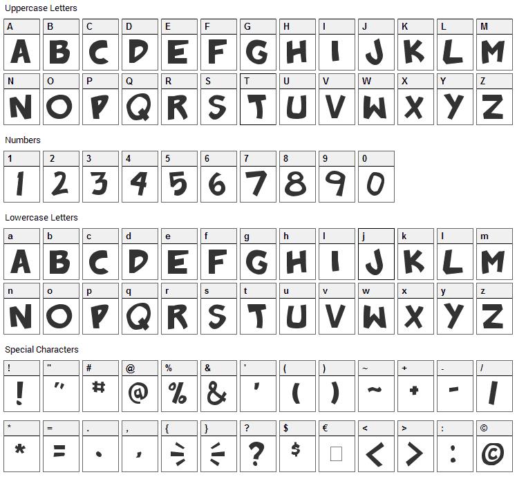 Badonk-a-donk Font Character Map