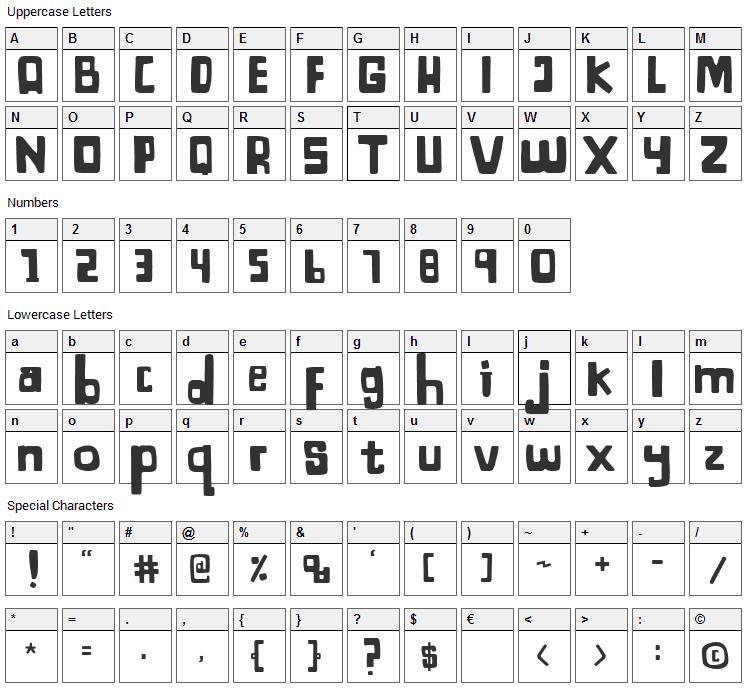 Bagayaga Font Character Map