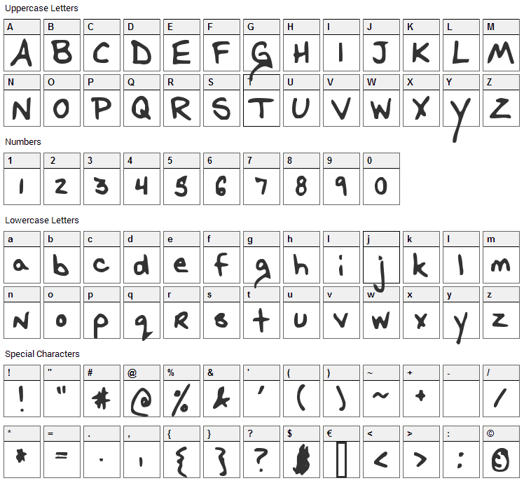 Baka Kisama Font Character Map