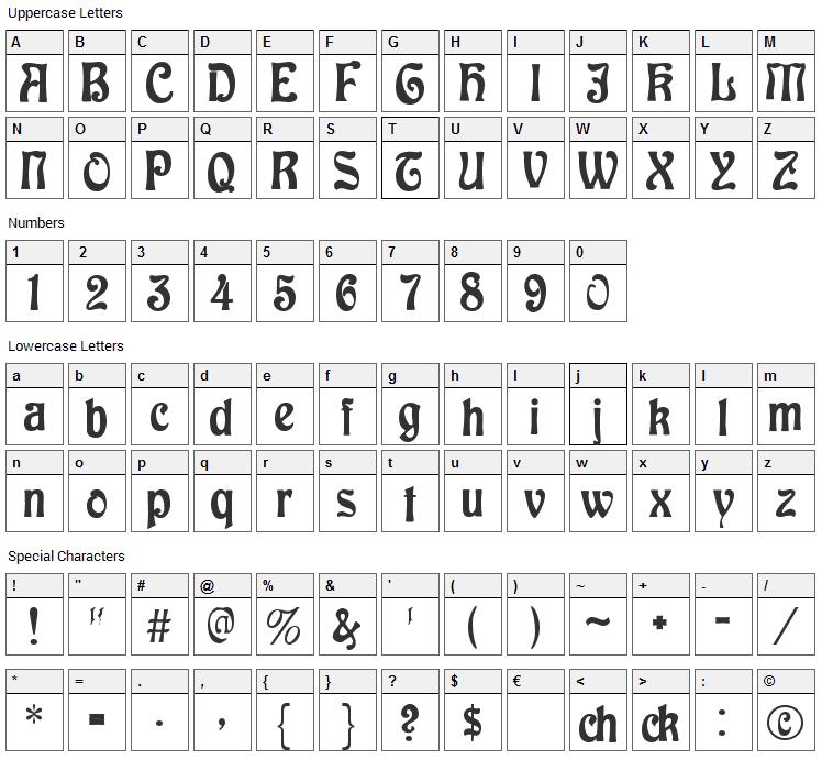 Baldur Font Character Map